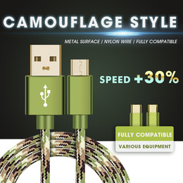 Wholesale Iphone Usb Data - Electroplate Metal Camouflage Micro USB Cable Fast Charging Mobile Phone Andriod Cable 1m USB Data Charger Cable For Samsung HTC LG
