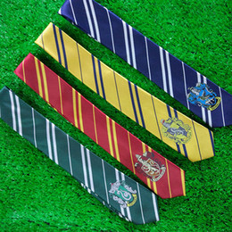 Wholesale Green Neckties For Men - Hogwarts School tie for film fans gryffindor Slytherin Ravenclaw Hufflepuff badge ties necktie Neckwear for men women statement 240416