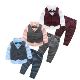 Wholesale collared shirt for baby - Baby Boys Clothes EuropeStyle Handsome Gentleman Suit Waistcoat +Bow Tie Shirt+Jeans 3pc Child Kids Costume For Boys B4751