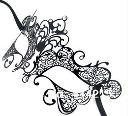 Wholesale Masks Filigree - Halloween Metal Mask Gloss Black Filigree Metal Masquerade Ball Mask for Clear Rhinestones MA004 Free Shipping