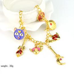 Wholesale Sailor Bracelets Wholesale - Wholesale- Anime Sailor moon charm bracelet magic card bracelet Female Christmas jewelry Gold-plated jewelry Wholesale and drop shipping