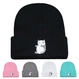 Wholesale Panda Knitted Hat - Fashion Panda Cap Men Casual Hip-Hop Hats Knitted Wool Skullies Beanie Hat Warm Winter Hat for Women Men Drop Shipping DM#6
