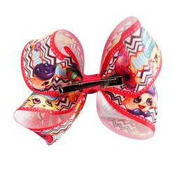 Wholesale Cute Ribbon Bows - 10 Pcs lot Cute Hair Bow With Clip for kids Printed Grosgrain Ribbon Hair Clip Hair Accessories