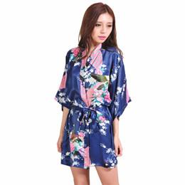 Wholesale Chinese Wedding Ladies Dress - Wholesale- Navy Blue Lady Silk Rayon Sexy Mini Kimono Yukata Dress Chinese Wedding Bridesmaid Robe Nightgown S M L XL XXL XXXL RB125