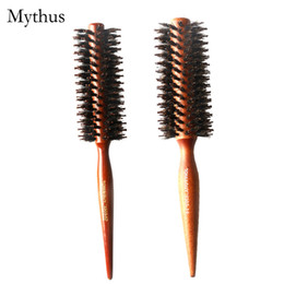 Wholesale Natural Hair Tail - 2 Sizes Wooden Brush Natural Boar Bristle Round Rolling Hair Brush Tip Tail Handle Hair Care Tools TG-3303