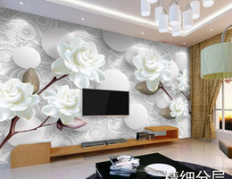 Wholesale Luxury Classic European Living Room - custom photo luxury 3d stereoscopic wallpaper European white peony 3D TV backdrop 3d wall paper for living rooms