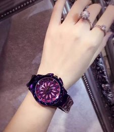 Wholesale Time Diamonds Watches - Purple time to run watches diamond-studded ladies ladies watch Korean fashion trend waterproof quartz watch