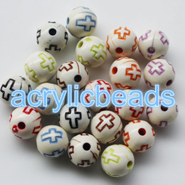 Wholesale Chunky Beads 8mm - Top Quality 8mm Round Opaque Colored Cross Pattern Acrylic Beads Loose 10mm Solid Spacer Beads for Chunky Necklace Jewelry