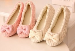 Wholesale Womens Slipper Booties - Warm Soft Sole Woman Indoor Floor Slippers Autumn Winter Home Shoes Womens Crochet Bowtie Antiskid Casual Slip-On Houses Shoe
