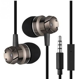 Wholesale Mp3 Headphone Jack - High quality 3.5mm Jack Noise Isolation Headphone In-ear Earphone for MP3 MP4 Players With mic bass metal headset for ios xiaomi