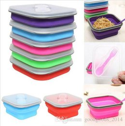 Wholesale Lunch Storage - 600ml Silicone Collapsible Lunch Box Set Portable Bento Boxes Bowl Folding Picnic Storage Container Lunchbox With Spoon Utensils b669
