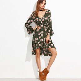 Wholesale Nova Girls Long Sleeve - Lace Summer Girl Flower Print Dress Long Bandage Fashion Nova Ruffle Chiffon Dresses Roupas Elegant Dress Women Clothing 50N0378