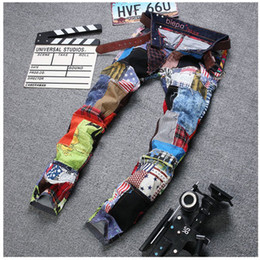 Wholesale Eye Jeans - Wholesale-New Fashion Patchwork Men Straight Slim Jeans High Quality Beggar Pant Eye-catching Design Stitching Wash Locomotive Jeans 29-38