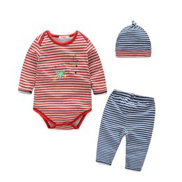 Wholesale Sleeping Rompers For Baby - Baby cotton striped romper letter with hat + pant + infant rompers plane printed for kids sleeping