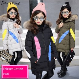 Wholesale Kids Fur Coat Girls Gray - 2017 Winter Jackets for Girls Clothes Children Clothing Kids Parkas Baby Girl Fashion Fur Collar Hooded Thick Winter Coat 3-12Y