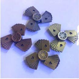 Wholesale flush poker - Best Straight flush EDC Tri-Spinner Fidget Toys Pattern Poker Hand Spinner Metal Fidget Spinner and ADHD Adults Children Educational Toys