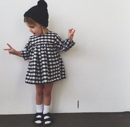 Wholesale New Sweet Girls - Sweet Girls Plaid Pleated Dress New Fashion Fall Spring Summer Casual Party Dresses