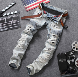 Wholesale Relaxing Lights - 2017 European style Men's jeans pants Straight luxury brand zipper light blue jeans trousers Striped slim hole Patchwork jeans