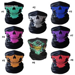 Wholesale Half Balaclava - unisex Halloween Cosplay Bicycle Ski Skull Half Face Mask Ghost Scarf Bandana Neck Warmer Party headband Magic Turban balaclava B1143