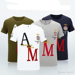Wholesale Air Force High - High Quality Brand Design Militare cotton men's short-sleeved fitness T shirt tops tees Air Force One casual t shirt for men