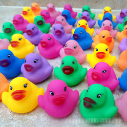 Wholesale Set Colorful Children Unisex - Baby Bath Water Duck Toy Sounds Mini Yellow Colorful Rubber Ducks Kids Bath Small Duck Toy Children Swiming Beach Gifts 6*5.5cm B001