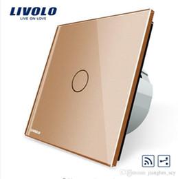 Wholesale Mini Ls - LS- Livolo EU Standard 1Gang 2 Way, Remote Switch, Wireless Switch VL-C701SR-13, Golden Color Glass, Without Mini Remote