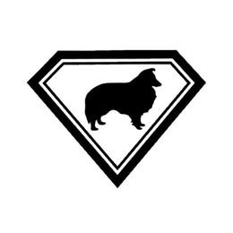 Wholesale Super Black Material - 19*14.6CM Sheltie Super Dog Vinyl Decal Lovely Pet Body Decoration Car Sticker