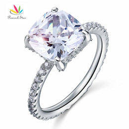 Wholesale Diamond Cushion Cut - Peacock Star Solid 925 Sterling Silver Wedding Promise Engagement Ring 5 Carat Cushion Cut Created Diamond Jewelry CFR8092