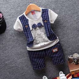 Wholesale 3t Boy Costume - 2017 summer new Baby boy kids children clothing fake three short sleeve suit shorts sets gentleman costume free shipping