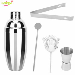 cocktail bar tool set shaker Promo Codes - Delidge 5 Pcs  Set 750ml Cocktail Shaker Cocktail Making Tools Stainless Steel Clip Cup Swizzle Sticks Bartender Bars Tools