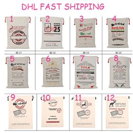 Wholesale Christmas Drawstring Bags Wholesale - Newest Christmas Large Canvas Monogrammable Santa Claus Drawstring Bag christmas decorations Christmas Gifts Sack Bags DHL ship