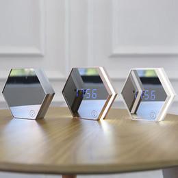 Wholesale Table Temperature Display - Multi-function Led Digital Alarm Clock Night Light Temperature Display Mirror Thermometer Touch Sensing Table Lamp Travel Clocks