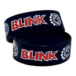 Wholesale Blink 182 - Wholesale Shipping 50PCS Lot 1'' Wide Band Blink 182 Silicone Wristband For Music Fans, A Great Way To Show Your Support