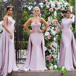 Il vestito dentellare veste sottile lungo online-2017 Fashion Blush Pink Mermaid Prom Dresses with Overskirt Train 3 Mixed Styles Custom Made Slim Formal Long Evening Celebrity Party Gowns