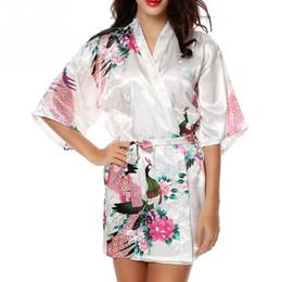 Wholesale Long Satin Nightgowns Women - New Satin Robes for Brides Wedding Robe Sleepwear Silk Pajama Casual Bathrobe Animal Rayon Long Nightgown Women Kimono