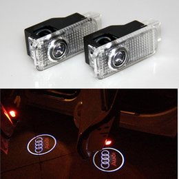 Wholesale Audi Led Strips - 2x New Car Led Light Door Ghost Shadow LOGO Courtesy Lamp Bulb Laser Projector for Audi