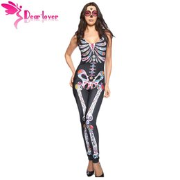 Wholesale Adult Womens Costumes Accessories - Dear-Lover 2016 Halloween Costume Bodysuit Long Pant Sugar Skull Adult Womens Catsuit Costume Night Club Macacao Feminino LC8854 17410