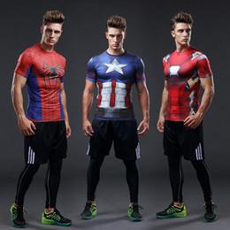 Wholesale Superman Long Sleeve Mens - superman short sleeve mens tees Captain America 3D digital print t shirt sport tight tops men quick dry fitness Crossfit shirt