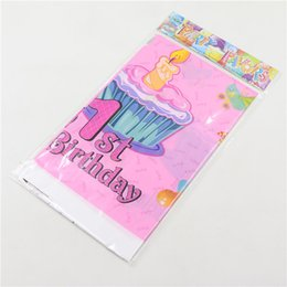 Wholesale Kids Party Table Cloths - Wholesale-Cartoon Happy birthday table cloth theme supplies 1pcs Party , Pink gift Cartoon Tablecloth Child Kids 1st Birthday Party Decor