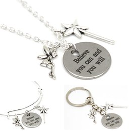 Wholesale Magic Cans - 12pcs Believe you can and you will necklace fairy and Magic wand charm pendant necklace bangle keyring