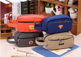 Wholesale Gift Fabric - The Avengers Pencil Bag Fabric Zippers Pencil Case Children's Pen bag Stationery bags Students Gifts