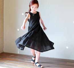 Wholesale Cute Dress Korean Style - 2017 new styles Hot sell Super cute summer the Middle childhood Korean style vest longuette Princess sleeve Dress black Dress 100% Cotton