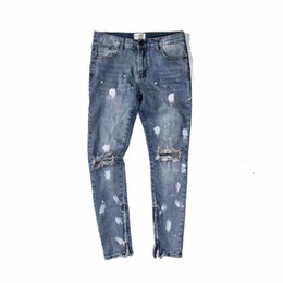 Wholesale Open Leg Pants - Wholesale- Ripped Knee Holes Vintage Blue Denim Jeans Zippered Leg Opening Slim Fit Spray Paint Biker Jeans Free Shipping