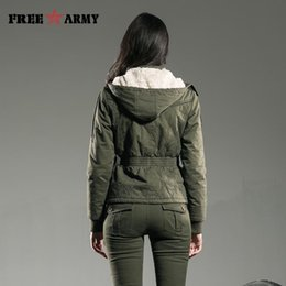Wholesale Gs Jackets - Wholesale- Brand Women Winter Outerwear & Coats Padded Warm Slim Fitted Jacket Short Hooded Coats Army Green Bomber Jacket Women Gs-8336A