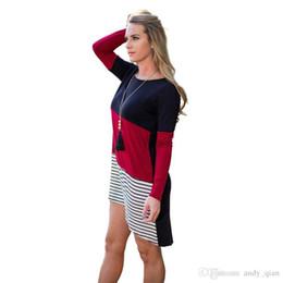 Wholesale Waist Hem Line - Smart Girls Dress O-Neck Line Long Sleeves Knitted Patchwork Shrink Waist Cute Women Asymmetrical Hems Casual Dresses