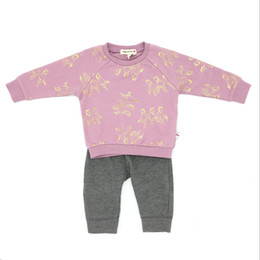 Wholesale American Girl Houses - Baby Girl Sets Cotton Brand Appaman Pieces Long Sleeve Tshirt and Pants Gold House Pattern Infant Clothing