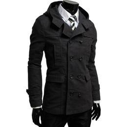 Wholesale double hood jacket - Wholesale- Hot Sale 2016 New Fashion Brand Hooded Blazer Men Casual Suit Jacket Men Slim Fit Suits Double Breasted Men Suit Hood Jackets