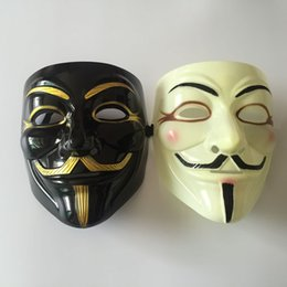 Wholesale Guy Fawkes V For Vendetta - Wholesale 100pcs Halloween Mask With Gold Eyeliner V for Vendetta Mask Guy Fawkes Party Costume Mask DHL Fedex Free Shipping