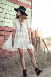 Wholesale Short White Lace Dress Vneck - Casual Loose Fit Summer Dress women white cotton mini dresses Vneck embroidery Lace fashion bohemian 2017 style hippy gypsy girl new