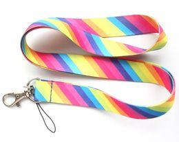 Wholesale Stripe Lanyard - Hot sale wholesale 20pcs cartoon Color stripe pattern phone lanyard fashion keys rope neck rope card rope free shipping 165